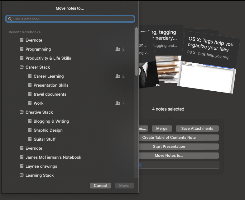 A list of notebooks to move note to in Evernote desktop client