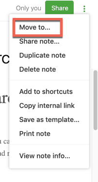 Move to... dialog for Evernote web client