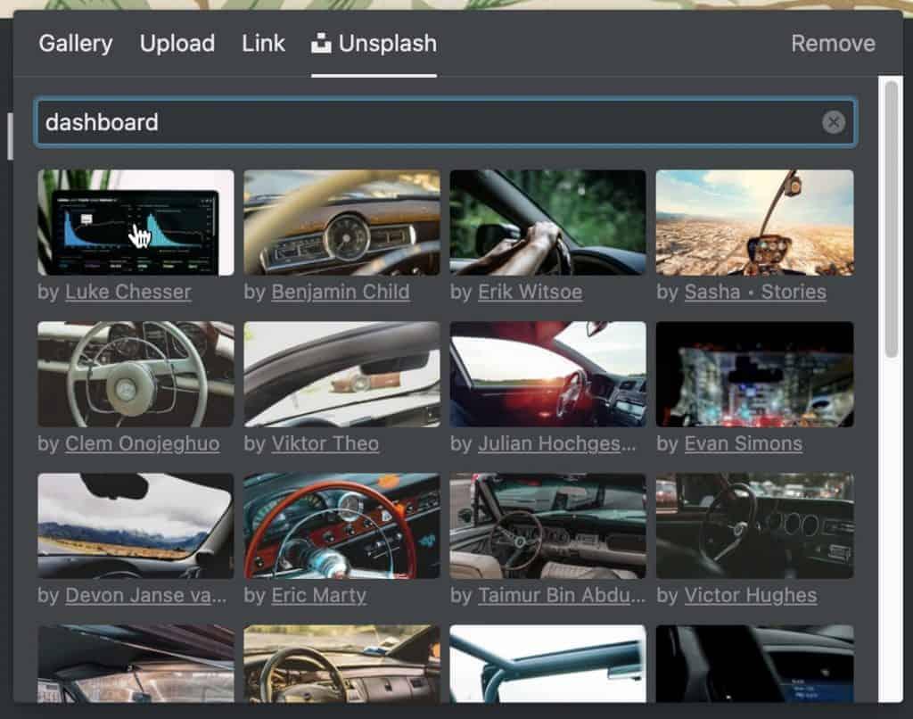 Unsplash image selection option