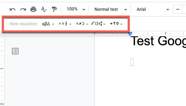 Equation Editor toolbar in Google Docs