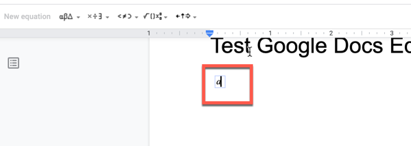 typing in an equation in the equation box in Google Docs