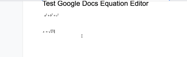 Two equations in Google Docs