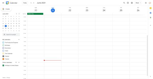 Week view in Google Calendar