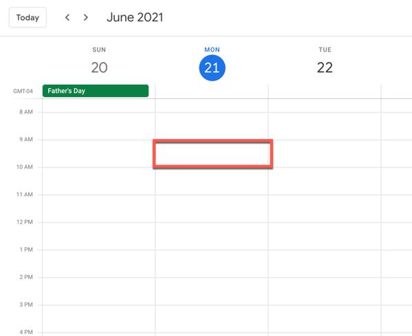Selecting a time block in Google Calendar