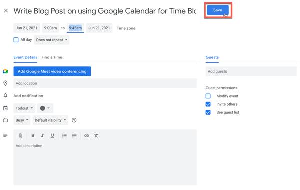 Saving an event in Google Calendar