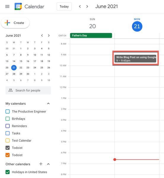 An event in Google Calendar