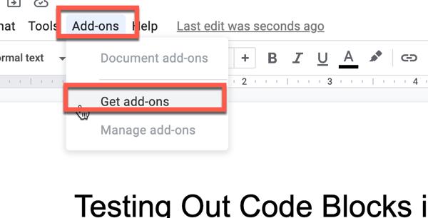 the Add-ons menu in Google Docs