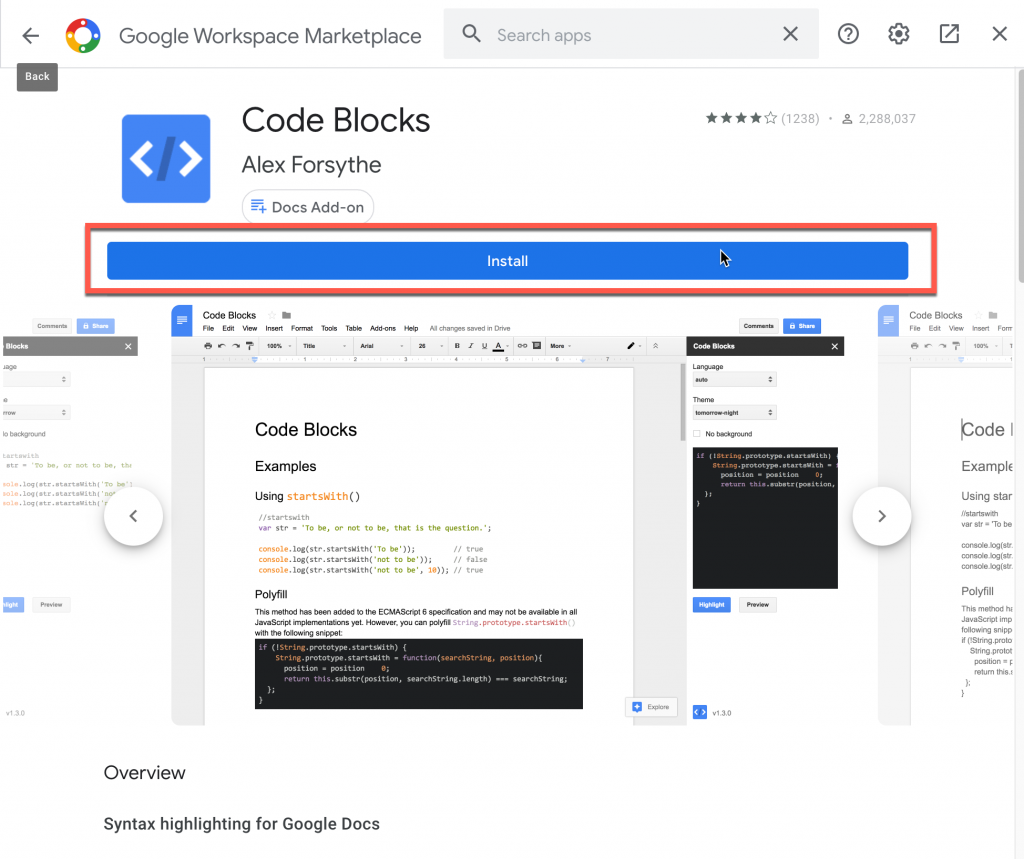 Code Blocks add-on page in Google Workplace Marketplace