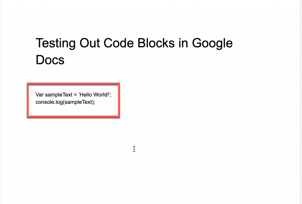 typing in some javascript code into Google Docs