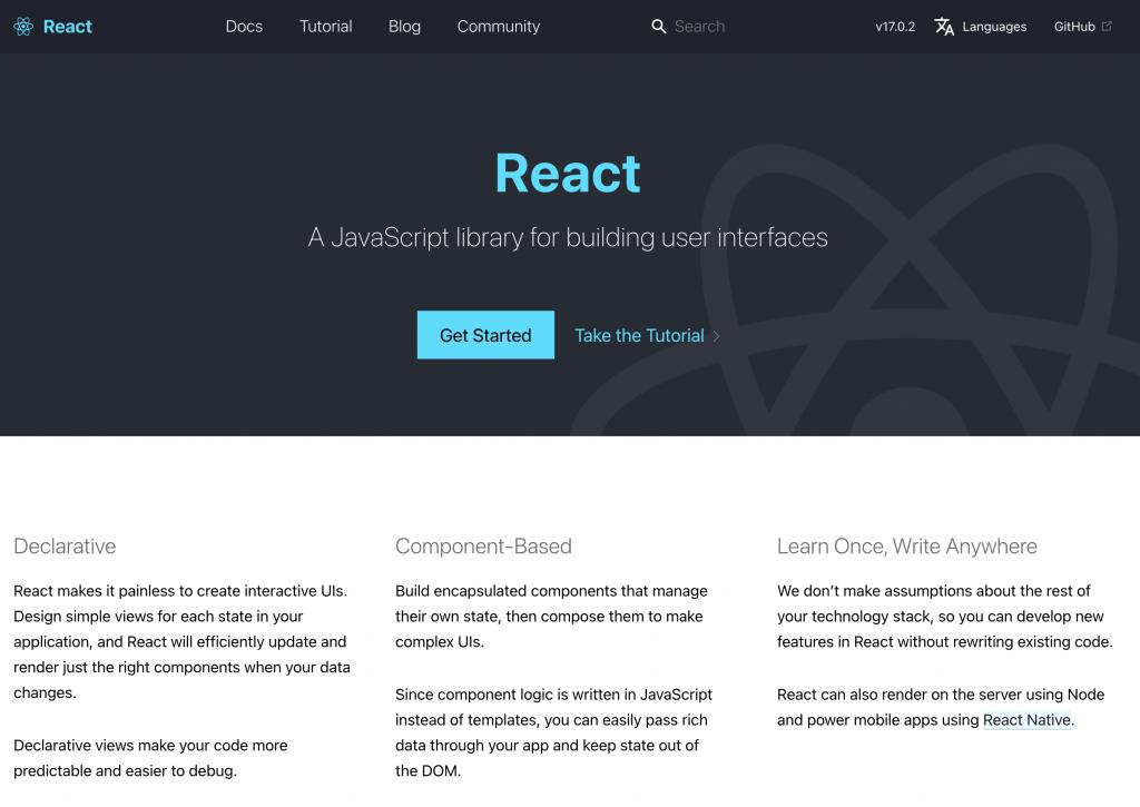React.js homepage