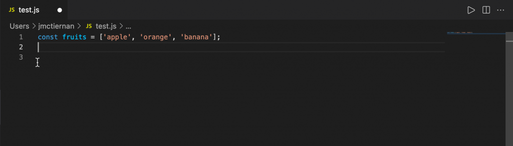 simple array of fruits in JavaScript