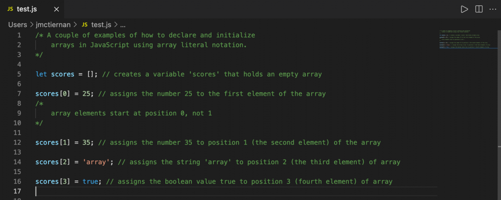 Creating and initializing an array that holds four elements in JavaScript