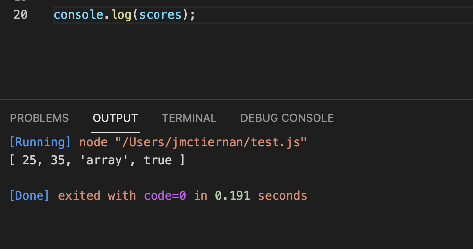 Outputting the contents of a JavaScript array