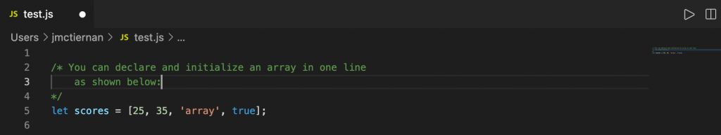 declaring and initializing an array in JavaScript in one line