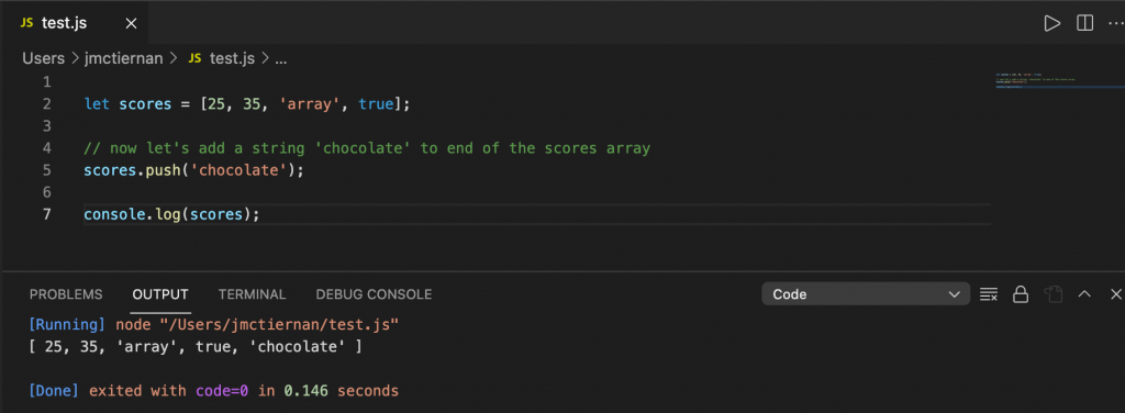 Appending a string to a JavaScript Array using the push() method