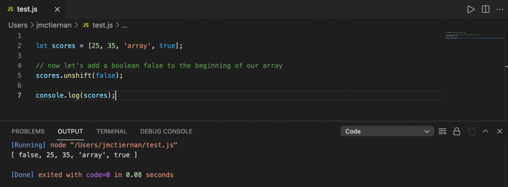 Adding an element to beginning of a JavaScript array using the unshift() method