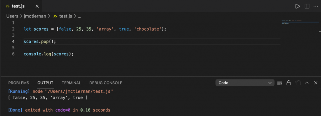 Removing the last element in a JavaScript array using the pop() method