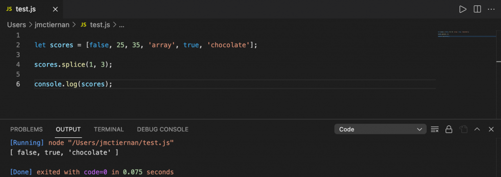 Removing three elements from a JavaScript array using the splice() method