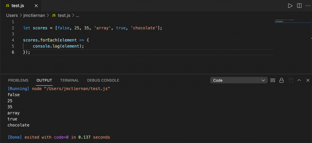 Looping through a JavaScript array and outputting each value to the console