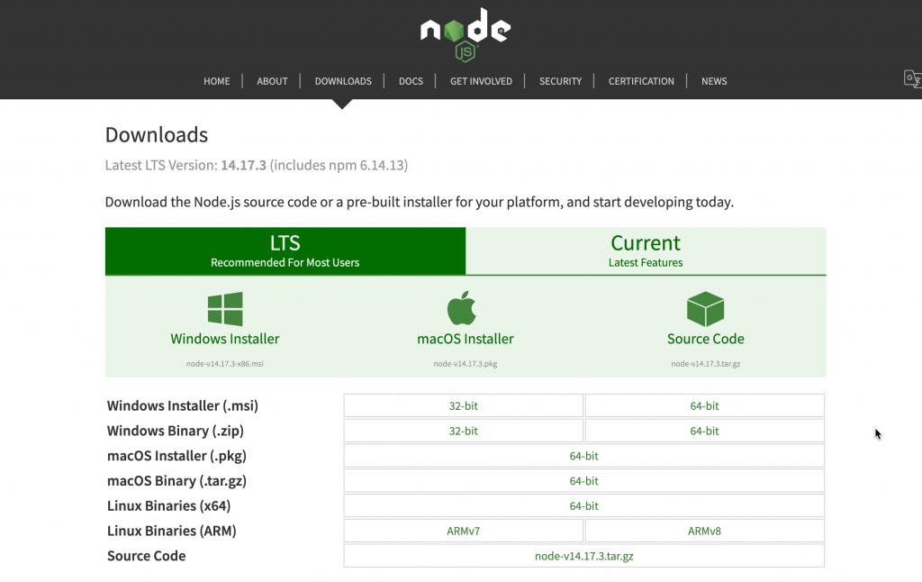 Node.js download page