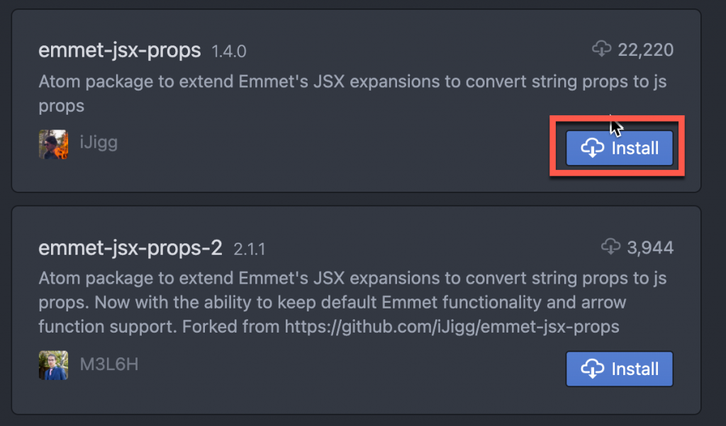 Click install to install package in Atom