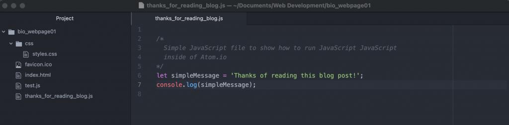 A simple JavaScript file in Atom