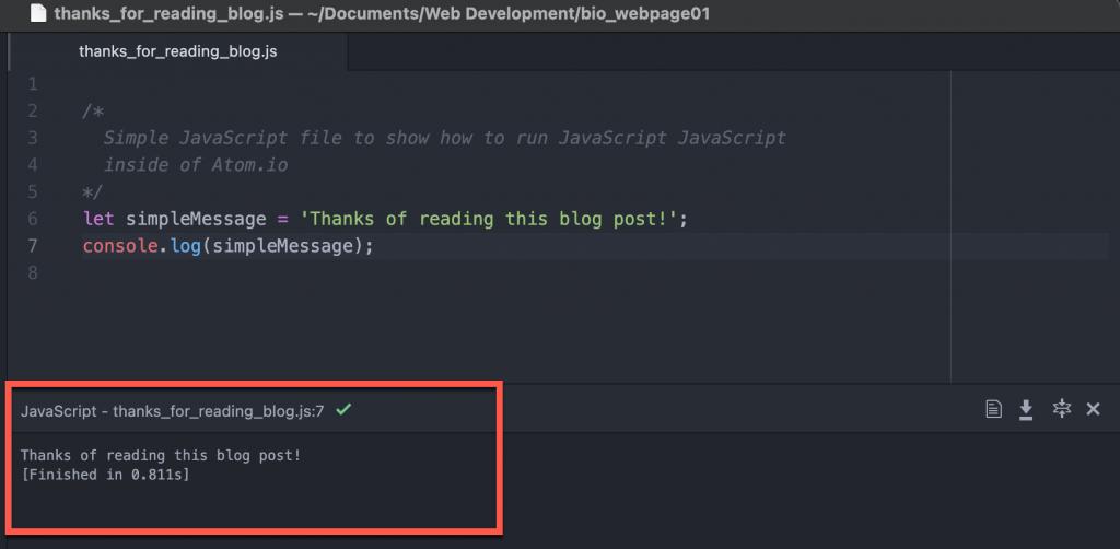 Script Output in Atom.io using Script package