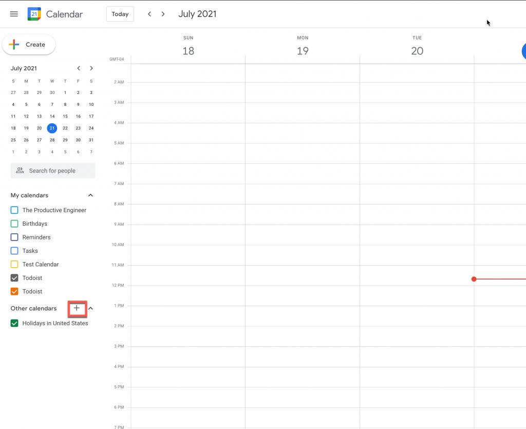 Click the Plus (+) button to open the calendar dialog menu