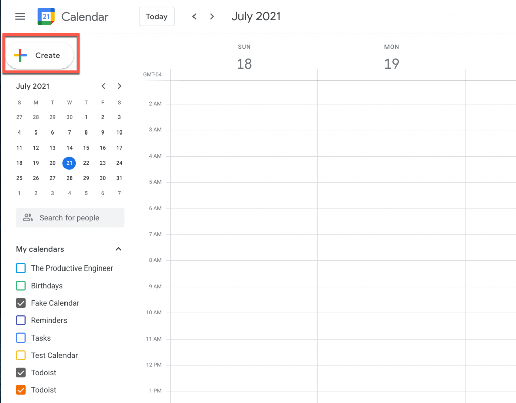 """Click the """"Create"""" button to start creating an event in Google Calendar"""