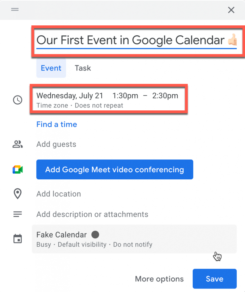 Configuring an Event in Google Calendar