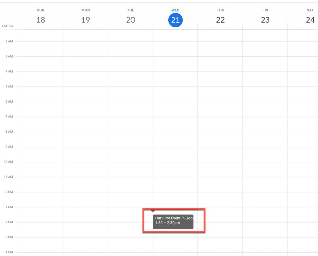 an event on a Google Calendar