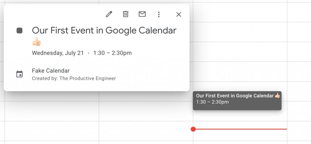 a calendar event in Google Calendar