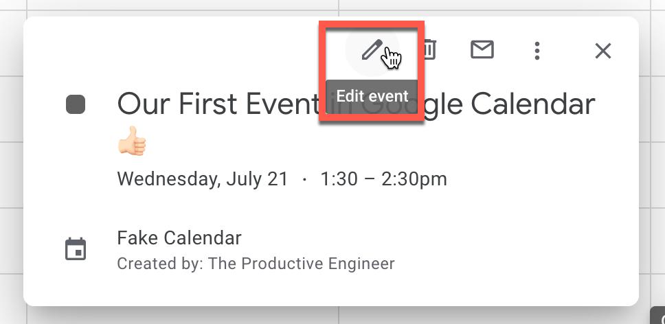 """Edit event"" option in Google Calendar event"
