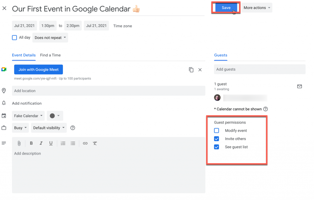Configure guest permissions in Google Calendar