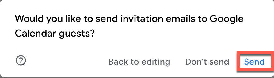 Confirming you want to send invitation to guest for Google Calendar event