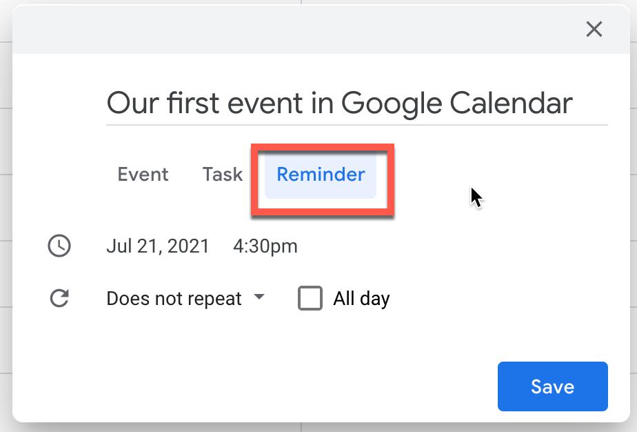Configuring a reminder in Google Calendar