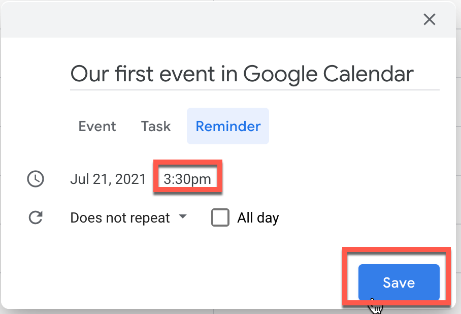 Configuring the time a reminder will trigger in Google Calendar