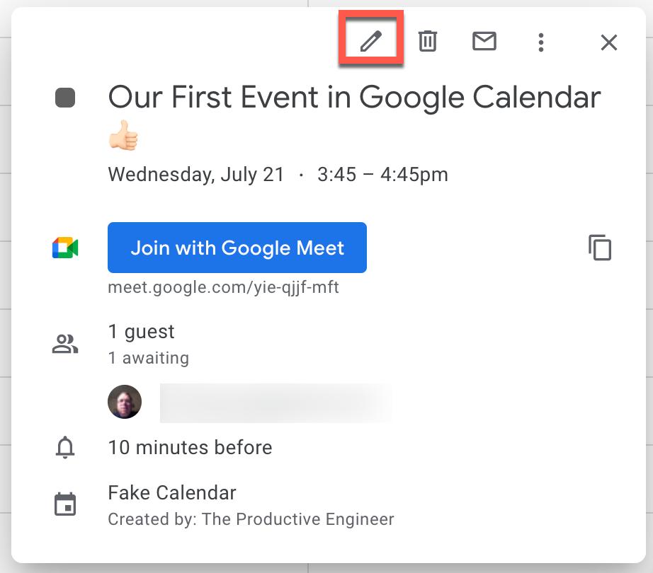 "Click the ""Edit event"" button to edit Google Calendar event"