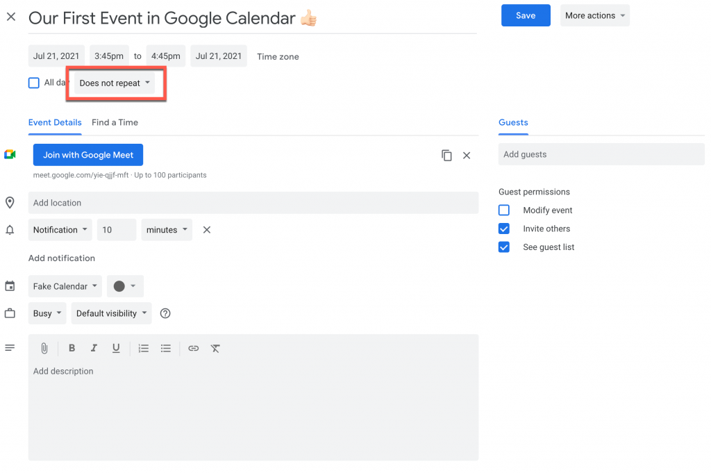 """the """"Does not repeat"""" drop-down button in Google Calendar"""