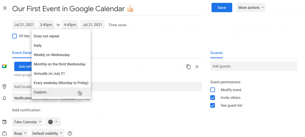 Select the recurring time in Google Calendar