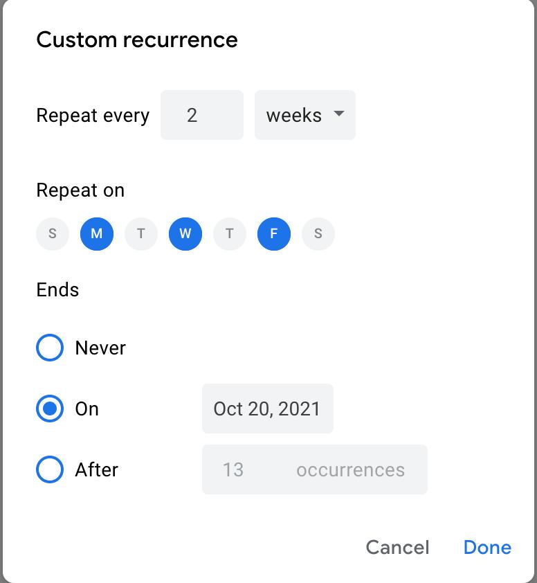 Custom recurring schedule screen in Google Calendar
