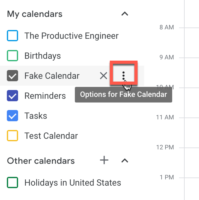 click on the ellipsis button to option calendar options in Google Calendar