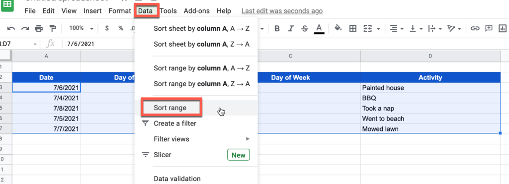Selecting the Sort Range function in Google Sheets