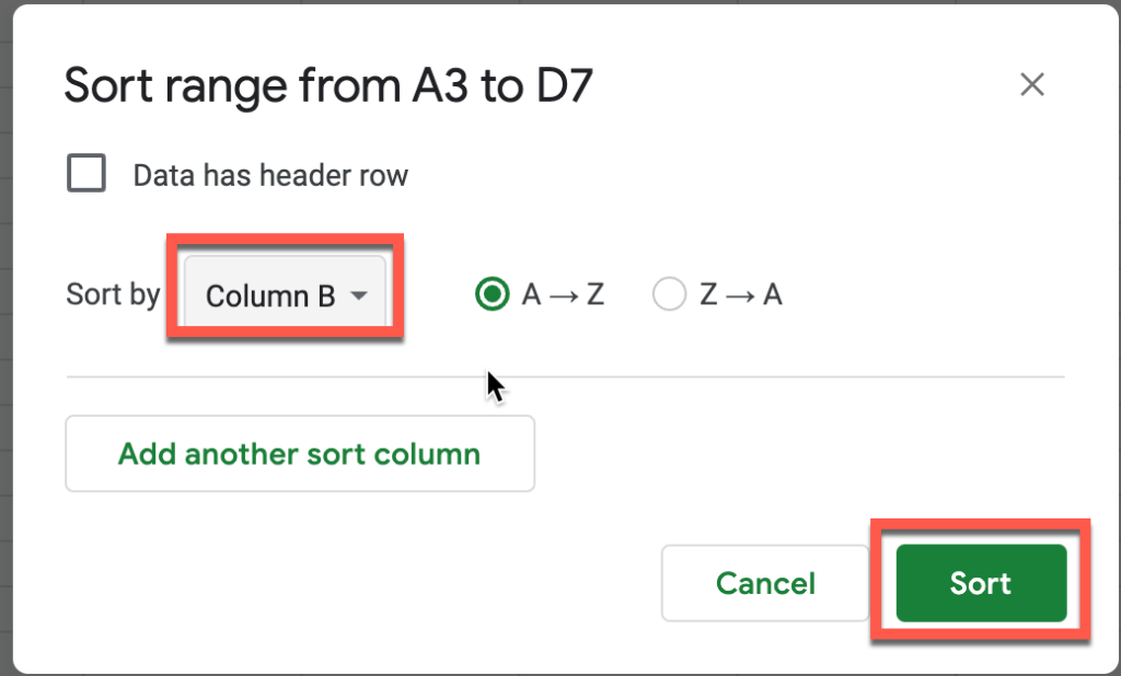selecting our day of week number column and clicking Sort in Sort Range menu in Google Sheets