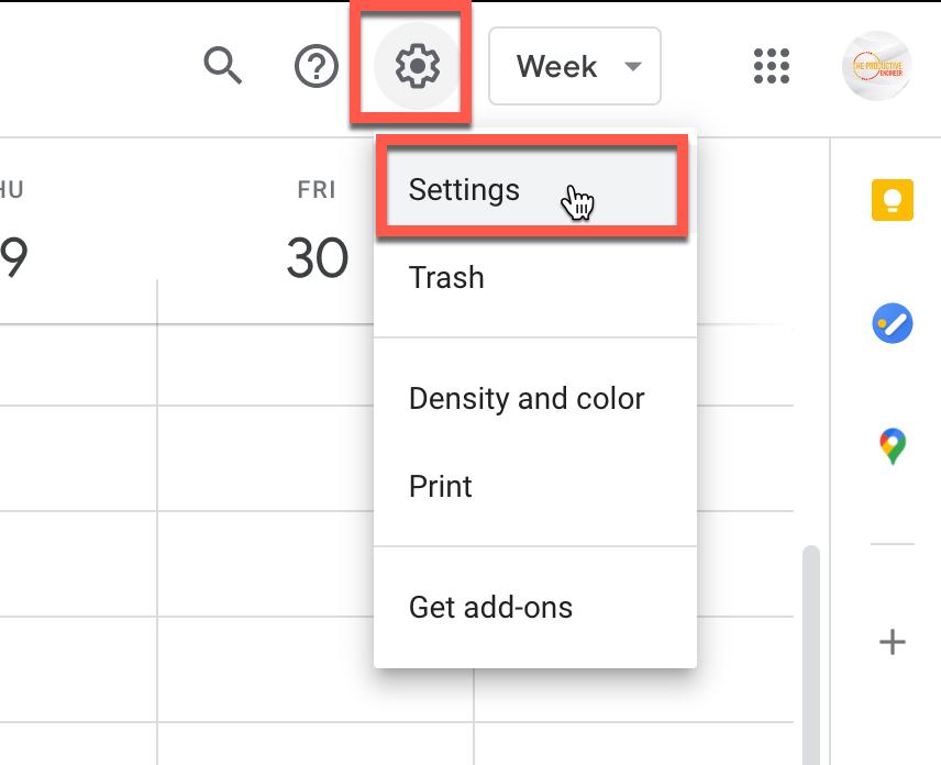Accessing Settings in Google Calendar