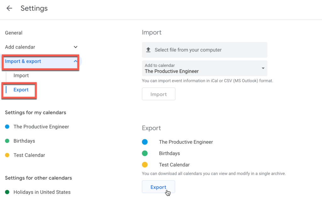 Accessing the import/export options in Google Calendar