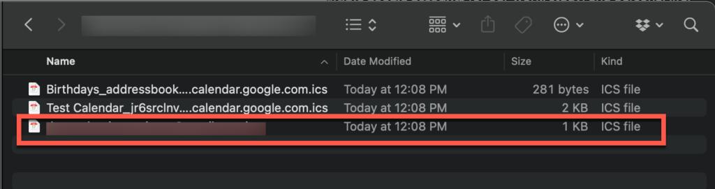 ICS files from Google Calendar Export