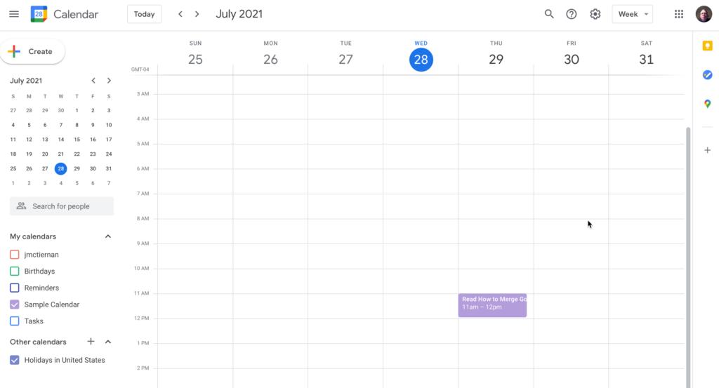 Another Google Calendar account