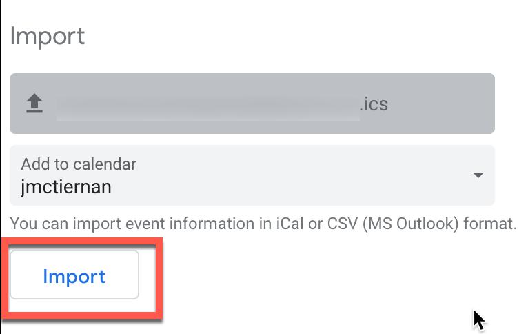 Importing an ICS files into Google Calendar