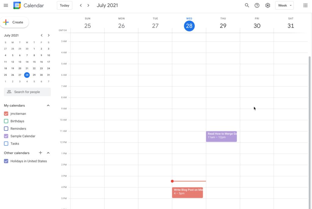 Merged Calendars in Google Calendar
